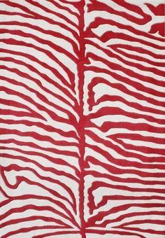 Red Zebra Print Rug
