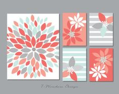 Modern Abstract Flower Bursts Set 4 5x7 8x10 or by 7WondersDesign
