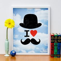 I Heart Moustaches 11x14 Print Poster by HappyLittleGarden on Etsy, $18.00