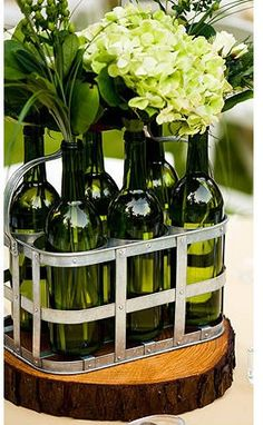 Picasa pic (don't know whose) showing a great use for wine bottles.  They can also be tied together or lined up a long the center of a table.