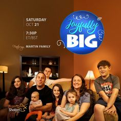 Watch an all new episode of Joyfully Big featuring the Martin Family, tomorrow at 7:30PM ET/BST!  Watch SHALOM WORLD on Apple TV, Roku, Samsung TV, Android TV, Amazon Fire TV, Kindle Fire HD, on your iPhone, iPad, Android Phone, and online at www.ShalomWorldTV.org/live  #ShalomWorldTV #MartinFamily #JoyfullyBig #family
