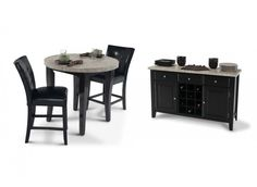 A Dining Room set with 4 Piece: Montibello Pub 40 Solid wood and veneer construction. Brown marble and pearl marble bar tops made with real marble veneers.