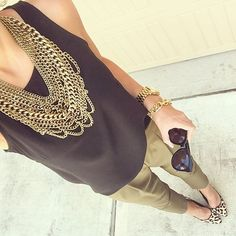 Black and olive with gold accents � these pants are so great and also come in black! They'... @liketoknow.it www.liketk.it/1B9jx #liketkit