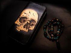 Handmade Leather Skull Double Zipper Mens Long Wallet Clutch Cool Leat – iwalletsmen