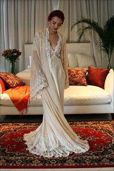 Bridal Silk Robe Champagne Chiffon Bridal by SarafinaDreams. Loving champagne tones this season!