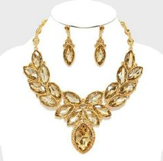"""Laurel Marquise Crystal Rhinestone Evening Necklac Color : Gold, Lt Col Topaz Necklace Size : 16"""" + 3"""" L Decor Size : 3"""" L Earrings Size : 2"""" L Jewelry Necklaces"""