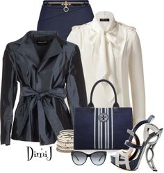 """Office Look - The Blue and White Colletion"" by dimij on Polyvore"