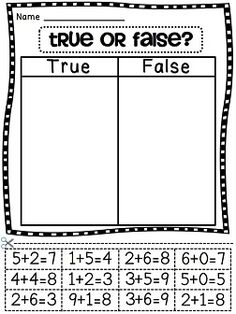 True or false with addition equations cut and paste