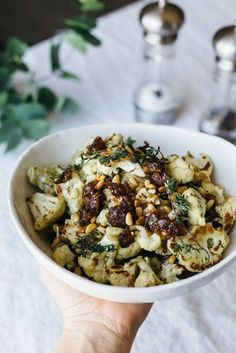 Roasted Cauliflower with Dates, Pine Nuts and Thyme Za'atar roasted cauliflower with dates, pine nuts and thyme.Za'atar roasted cauliflower with dates, pine nuts and thyme. Stop Eating, Clean Eating, Healthy Eating, Paleo Recipes, Whole Food Recipes, Cooking Recipes, Pine Nut Recipes, Easy Cooking, Recipes With Dates Healthy