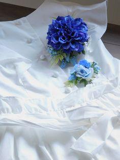 ナチュラルテイストダリアコサージュ2個セット【ブルー】サマードレス入学式卒業式パーティ結婚式ギフト親子でお揃い