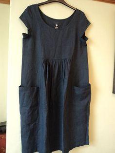 51d0092b7df Lin n laundry by zyga linen tunic dress size 40 (uk10-12-14) bnwt dark blue  grey