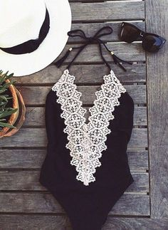Black one piece lace front bathing suit and accessories