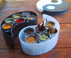 Great blog post by Holy Cow! detailing a range of Indian spice mixes using the GitaDini Yin Yang Spice Box for storage.