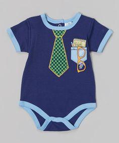 Look at this #zulilyfind! Baby Essentials Blue & Green Tie Bodysuit - Infant by Baby Essentials #zulilyfinds