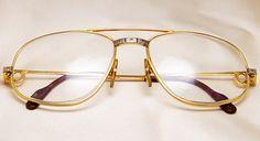Cartier Men's Aviator Sunglasses Eyeglasses Frames ! Very rare, original, aviator style sunglasses from Mid 1983. Model number 140. Gilded frame. Made in France.
