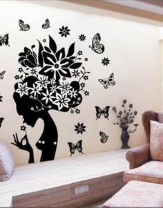 Wall Decals & Stickers Latest Pretty Butterfly Flower Fairy Girl Pvc Wall Sticker Home Decor Decals & Garden