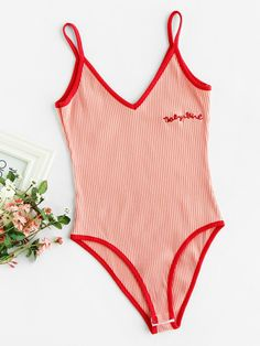 7105fd34ed SheIn offers Letter Embroidered Ringer Ribbed Cami Bodysuit   more to fit  your fashionable needs.
