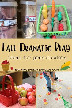 Add some fall fun to your preschool dramatic play area with these fall dramatic play ideas, from pumpkin patches to apple pie baking! 3 Year Old Activities, Fall Preschool Activities, Toddler Activities, Preschool Fall Theme, Preschool Class, Preschool Science, Literacy Activities, Summer Activities, Family Activities