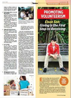 Promoting Volunteerism! Elson Soh: Giving is the First Step to Receiving (Pg 1)  (Get the Dec 2016 issue at Kinokuniya Bookstores today!) :)  SG Site: http://epochtimes.today/  Global Site: http://www.theepochtimes.com/