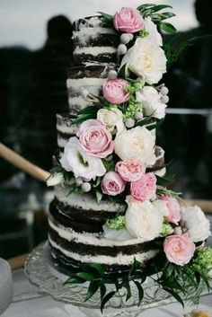 Chocolate Wedding Cake Inspiration, tiered naked cake, roses and peonies, wedding cake ideas by debora