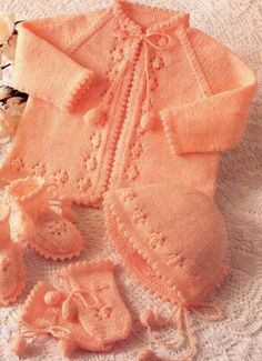 Instant KNITTING 4 Piece Set Matinee Coat, Bonnet, Bootees, Mitts 3 Sizes Birth to 12 Months - Vintage Digital Pdf Download - Kenyon 1021