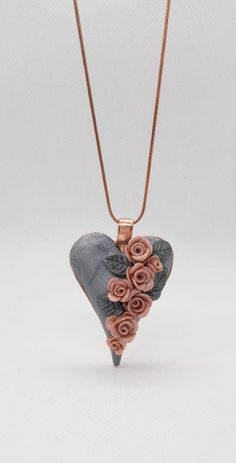 Heart shimmery pendant necklace with polymer clay roses gold blush pink on silver by NadoandLola on Etsy