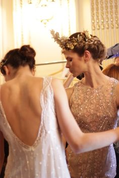 Backstage at Javier Saiach Haute Couture Spring/Summer 2016. | Design Seamless