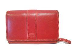 "Coach Leatherware Red Leather Bifold Wallet 5.5""L x 3.75""H x 1.5""W #Coach #Bifold"