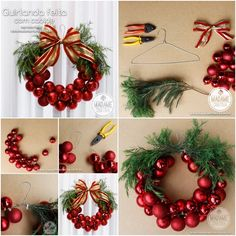 This Christmas Bauble Wreath is very EASY and INEXPENSIVE to make decoration. Why not to Craft your own Christmas. The post The Perfect DIY Christmas Bauble Wreath With Metal Hanger appeared first on The Perfect DIY. Diy Christmas Baubles, Christmas Ornament Wreath, Noel Christmas, Christmas Balls, Simple Christmas, Christmas Wreaths, Burlap Christmas, Ornament Tree, Christmas Clothes