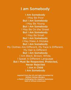 i am somebody poem - Google Search