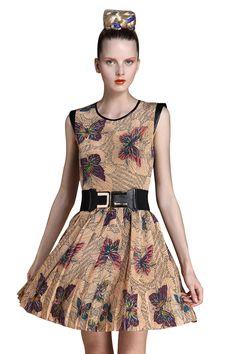 Light Grey Sleeveless Butterfly Print Belt Silk Dress