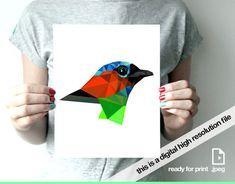 Excited to share the latest addition to my #etsy shop: Red bird print bird geometric bird illustration bird art print bird modern woodland instant download digital print Saira https://etsy.me/2EFXI1f