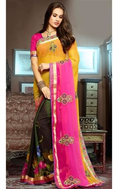 Picture of Trendy Pink, Yellow, Mehendi Green and Black Color Saree