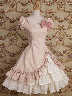 Pale pink and white lolita dress.