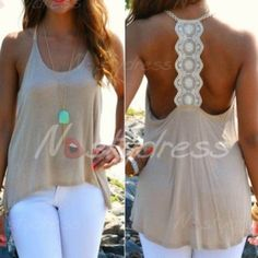 Chic Scoop Neck Lace Splicing Backless Loose Tank Top For Women