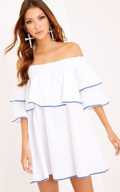 0c2275fc7e Ruffle Blue Embroidered Shift Dress WhiteHave serious babein' style in this  off the shoulder neck