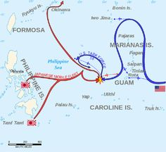"""19 June 1944 - With the U.S. Navy in position, the Battle of the Philippine Sea begins. It will be the largest aircraft carrier battle in history. Known by navy pilots as """"the Great Marianas Turkey Shoot,"""" large numbers of Japanese planes are destroyed and pilots shot down."""