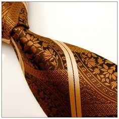 caramel paisley stripe mens tie - dé luxe copper bronze italian silk