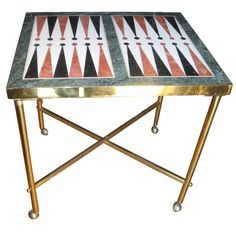 Custom Midcentury Brass And Marble Backgammon Table. Modern GamesModern ...