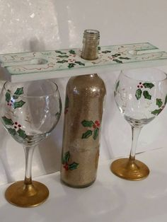 5 PIECE SET  Holly Wine Glass Holder and Lighted Bottle by gr8byz