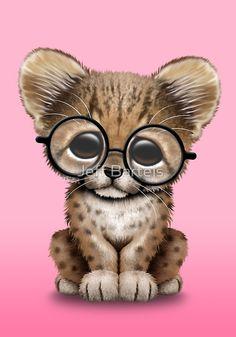 Cute Cheetah Cub Wearing Glasses on Pink | Jeff Bartels