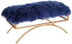 One Kings Lane Troy Sheepskin Bench - Blue