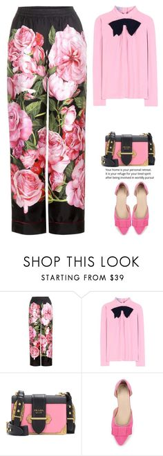 """""""Bow"""" by juliehalloran ❤ liked on Polyvore featuring Dolce&Gabbana and Prada"""