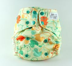 Rubber Ducky All in One AIO One Size Cloth Diaper 7-40 lbs with Super Heavy Organic Bamboo Fleece Emerald SnapsYellow Green Red Orange Blue by BICKLEBEAR, $32.00  bicklebear.etsy.com