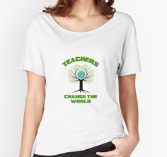Teachers Change The World! by Autism Odysseys Change The World, Teacher Gifts, Fitness Models, Scoop Neck, Short Sleeves, Tees, Fabric, Cotton, How To Wear