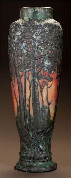 Art Glass:Daum, DAUM OVERLAY GLASS AUTUMN VASE. Circa 1900. Engraved Daum,Nancy with the cross of Lorraine. Ht. 17-1/4 in.. ... Image #2