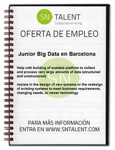 #Empleo Junior Big Data en #Barcelona