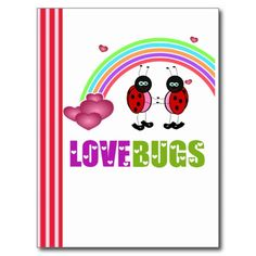 SOLD! Love bugs #ValentinesDay #Postcard #Rainbow #Heart #Love #February