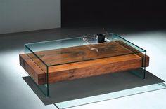 mesa centro squadrus 130x75 madeira demolição vidro ellipse