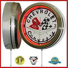 Chevy Corvette Flags 15 Neon Light Clock Sign Red * Read more reviews of the product by visiting the link on the image. (This is an Amazon Affiliate link and I receive a commission for the sales)